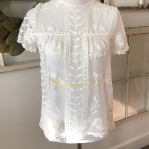 Lace cream colored top size XS